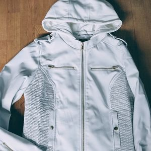 Guess White Leather Moto Jacket